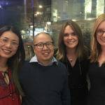 At the Unicorn Theatre with Ben Yeoh (Chair of Coney), Becki and Rowan